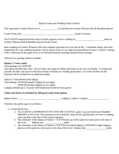 special events and wedding venue contract