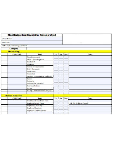 staff client onboarding checklist