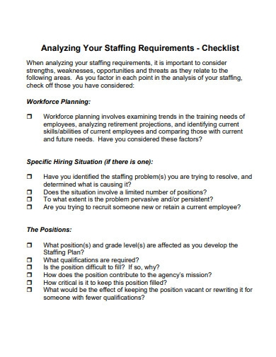 staffing plan checklist