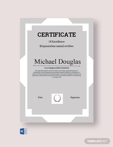 technician excellence certificate