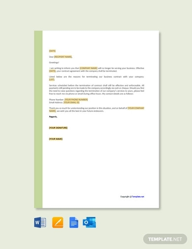 termination of services letter template to client