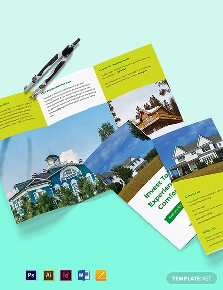 tri fold real estate portfolio brochure template
