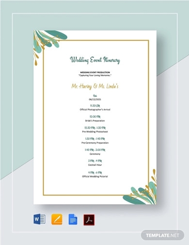 wedding event itinerary template