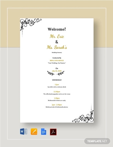 wedding itinerary example