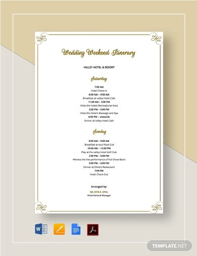 14 Best Wedding Itinerary Examples In Ms Word Pages Google