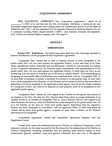 acquisition agreement example