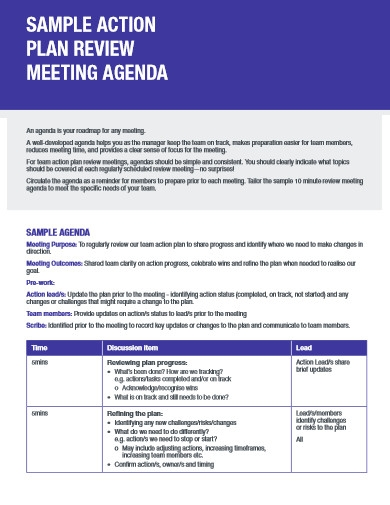 action plan review meeting agenda