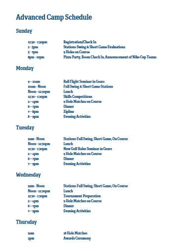 advanced camp schedule