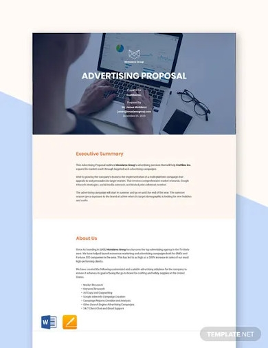advertising proposal sample template