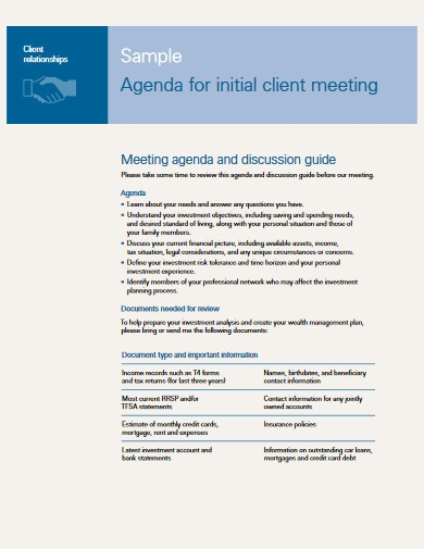 agenda for initial client meeting