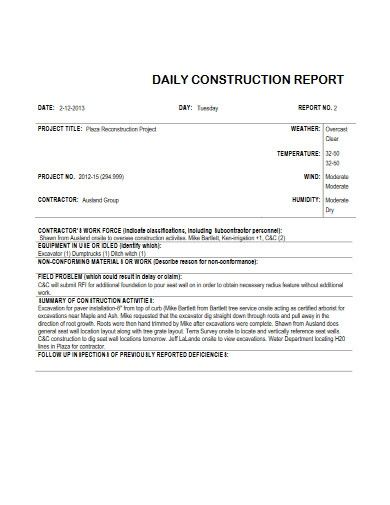 apartment daily construction report