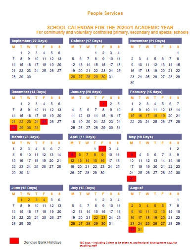approved school calendar