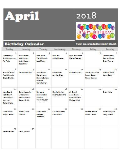 april birthday calendar