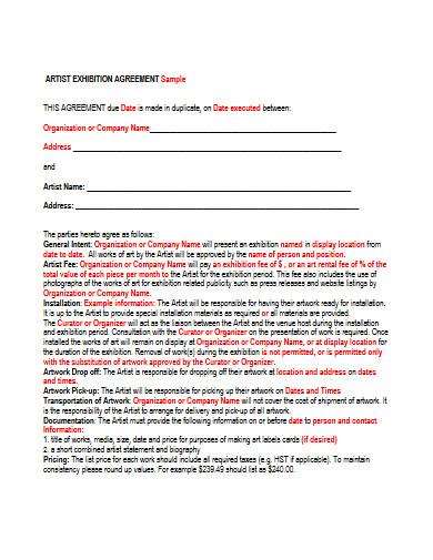 artist exhibition agreement
