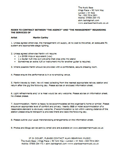 artist management agency contract