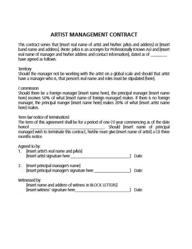 artist management contract in pdf