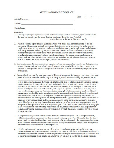 artists management contract example