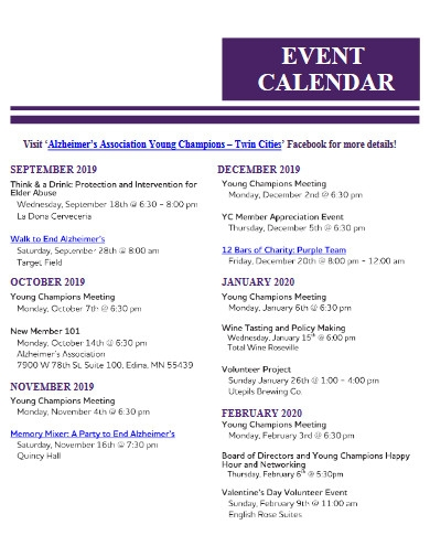 association event calendar