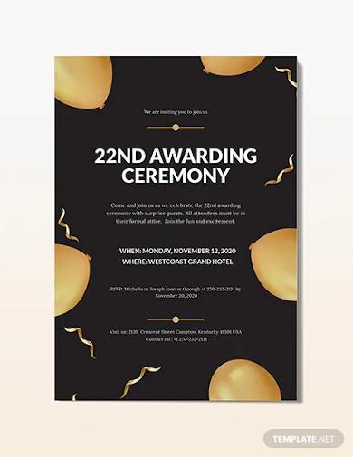award ceremony invitation template
