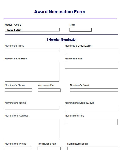 award nomination form example