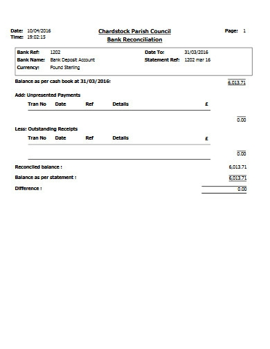 bank reconciliation deposit account