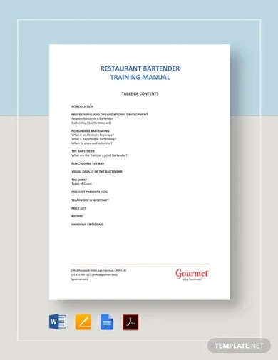 bartender training manual template