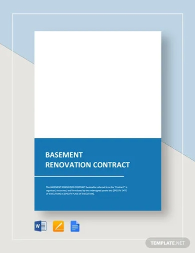 basement renovation contract template