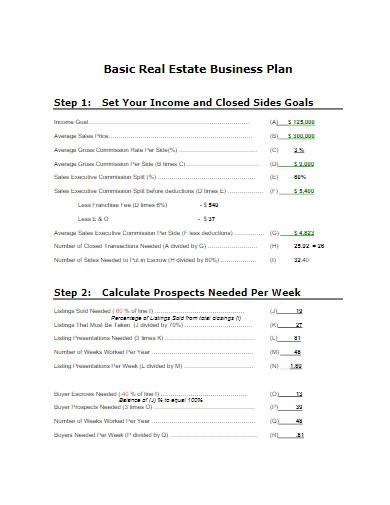 basic real estate business plan