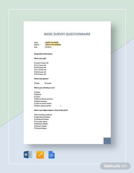 basic survey questionnaire template