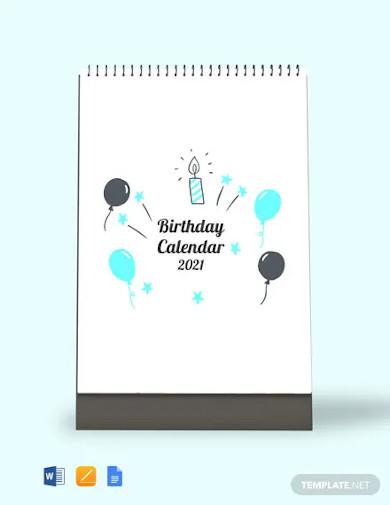 birthday desk calendar template