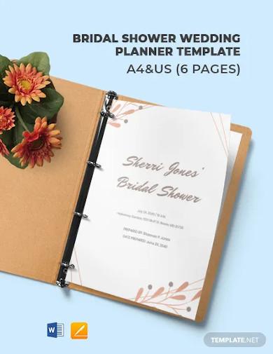 bridal shower wedding planner template