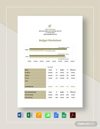 budget worksheet template