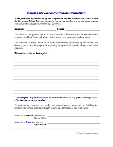 business education partnership agreement
