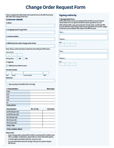 change order request form
