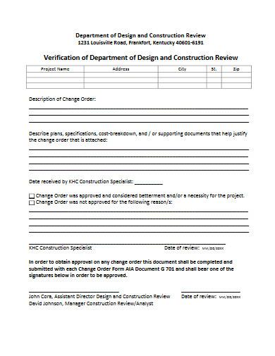 change order verification form