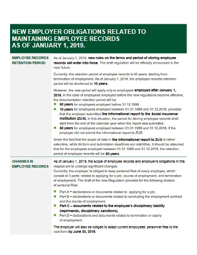 changes in employee record