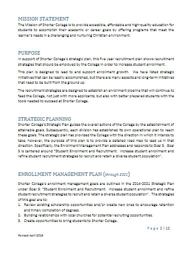 college recruitment plan