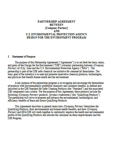 commercial business partnership agreement