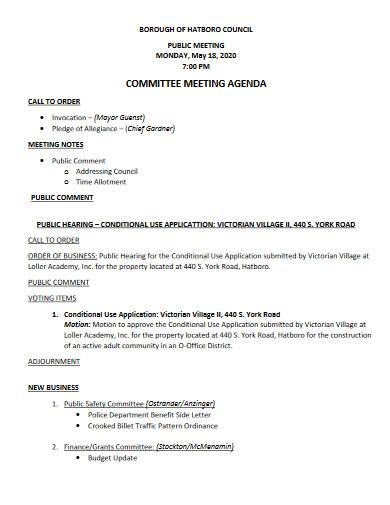 committee meeting agenda example