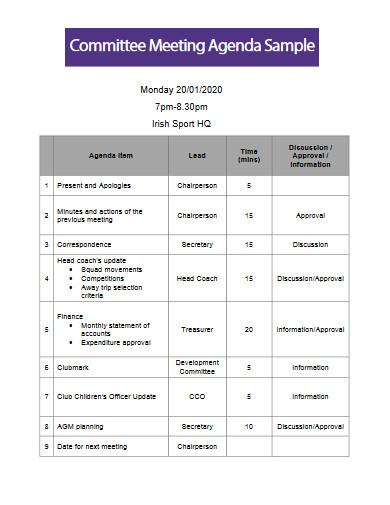 committee meeting agenda sample