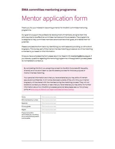committee mentor application form