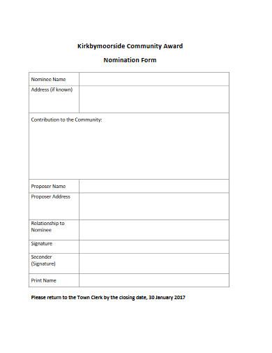 community award nomination form