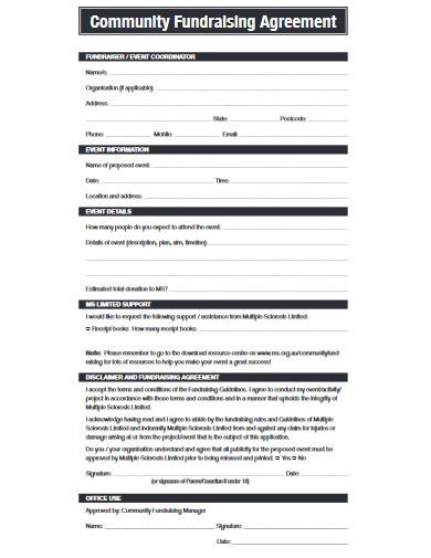 community fundraising agreement