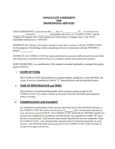 consultant agreement for professional services