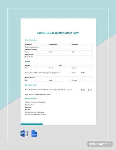 coronavirus covid 19 bankruptcy intake form template