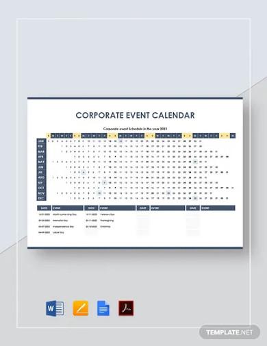 corporate event calendar template