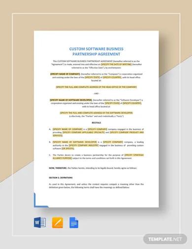 custom software business partnership agreement template