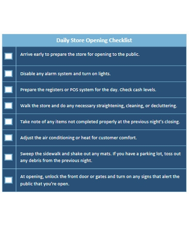 daily store opening checklist