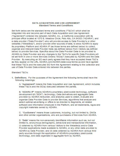 data acquisition and use agreement template