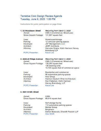 design review agenda